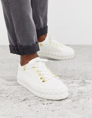 Asos DESIGN hiker sneakers in white and gold with chunky diamond sole
