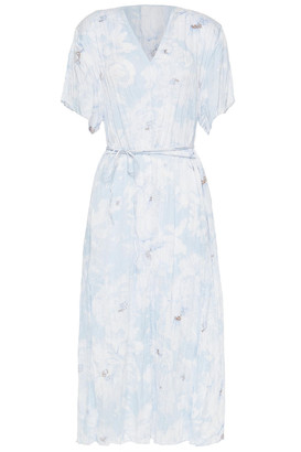 Vince Belted Printed Crinkled-satin Midi Dress