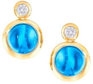Tamara Comolli Classic Bouton 18K Yellow Gold, Swiss Blue Topaz & Diamond Stud Earrings