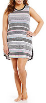 Kensie Plus Striped Jersey & Lace Chemise