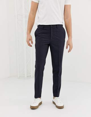 Selected tapered smart trouser in grid print-Navy