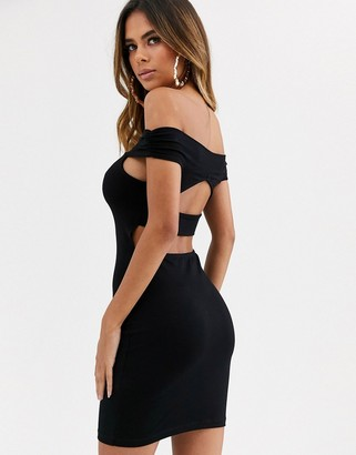 ASOS DESIGN going out bardot cut out back detail mini dress in black