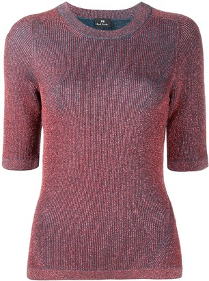 Paul Smith Glittered-Knit Crew-Neck Top
