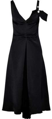 Proenza Schouler Cold-shoulder Ruched Woven And Pleated Chiffon Midi Dress