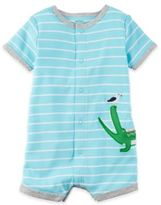 Carter's Boy's Short Sleeve Alligator Striped Romper in Blue