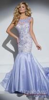 Tony Bowls Shimmering Organza Beaded Dramatic Mermaid Prom Dress
