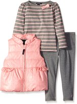 Nautica Little Girls Polka Dot Vest Striped Shirt and Jegging Set