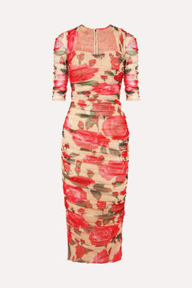 Dolce & Gabbana Ruched Floral-print Cotton-tulle Midi Dress - Pink