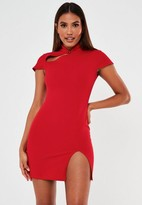 Missguided Red Cut Out Button Neck Mini Dress