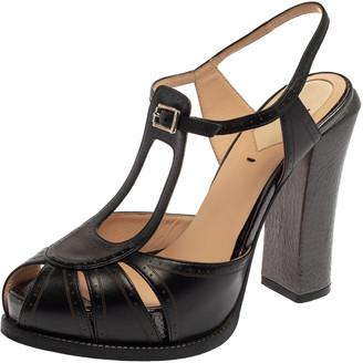 Fendi Black Leather T Strap Peep Toe Ankle Strap Sandals Size 37