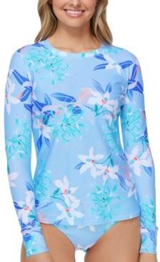 Raisins Juniors' Floral-Print Long-Sleeve Rash Guard Women's Swimsuit