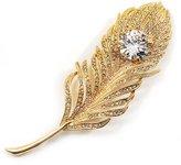 Avalaya Large Swarovski Crystal Peacock Feather Tone Brooch (Clear) - 11.5cm Length