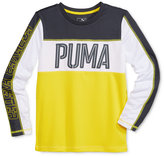 Puma Boys' Long-Sleeve Graphic-Print Colorblocked T-Shirt