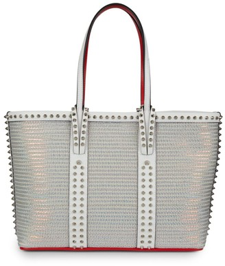 Christian Louboutin Small Cabata Spiked Metallic Mesh & Leather Tote