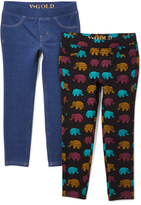 Vigoss Blue Jeggings & Black Elephant Leggings - Toddler