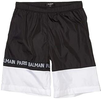 Balmain Kids Swim Shorts w/ Logo (Big Kids) (Black/White) Boy's Swimwear