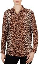 Gerard Darel Colin Leopard Print Silk Shirt