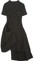 J.W.Anderson Draped Striped Cotton-crepe Dress - Black
