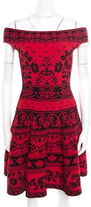 Alexander McQueen Red Floral Jacquard Knit Off Shoulder Flared Dress XS