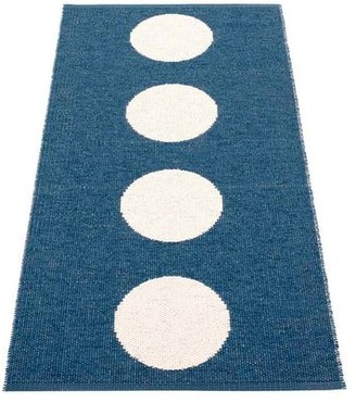 PAPPELINA Rug Vera Ocean Blue and Vanilla 70 x 150 cm - plastic | blue | recycled plastic - Blue/Blue