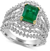 Effy Brasilica Emerald (1-3/8 ct. t.w.) and Diamond (1-5/8 ct. t.w.) Ring in 14k White Gold, Created for Macy's