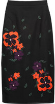 Raoul Embroidered mesh and cotton-blend jersey skirt