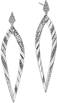 John Hardy Sterling Silver White & Gray Diamond Long Drop Earrings
