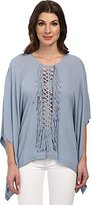 BCBGMAXAZRIA Women's Fringe Woven Top Shadow Blue Blouse