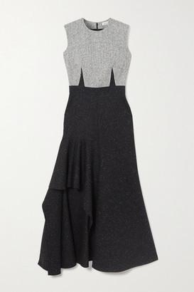 Alexander McQueen Asymmetric Wool-blend Maxi Dress - Black