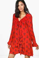 boohoo Amelia Frill Front Lace Up Printed Dress red