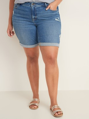 Old Navy Mid-Rise Secret-Slim Pockets Plus-Size Distressed Bermuda Jean Shorts - 9-inch inseam