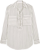 Equipment Knox Lace-up Striped Cotton Shirt - Off-white
