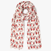 John Lewis Pretty Robin Print Cotton Twill Scarf, Red/Multi