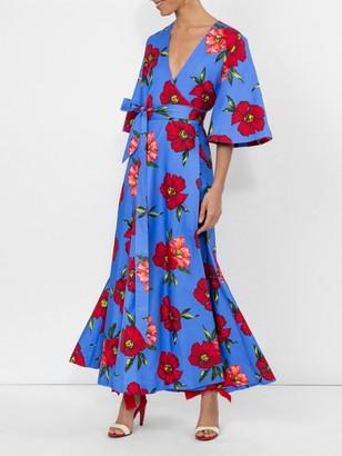 Rebecca De Ravenel Floral Print Wrap Dress Multicolor