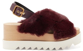 Stella McCartney Elyse Faux-shearling Platform Sandals - Burgundy