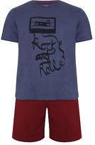 Yours Clothing BadRhino Plus Size Mens Sleepwear Nightwear Printed T Shorts Loungewear Set