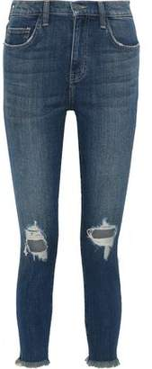 Current/Elliott The High Waist Stiletto Cropped Distressed Skinny Jeans