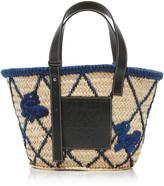 Loewe Leather-Trimmed Embroidered Straw Tote