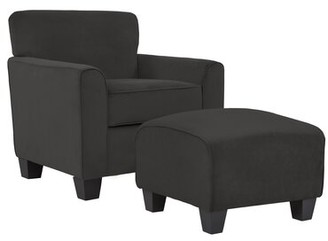 "Alcott Hill 21"" Armchair and Ottoman Fabric: Soft Charcoal Gray Velvet"