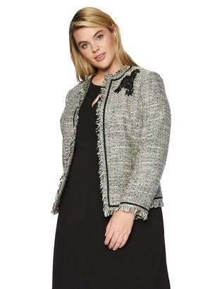 Kasper Women's Plus Size Jewel Neck Sparkle Tweed Fly Away Jacket