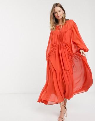 ASOS DESIGN Eivissa soft tiered maxi dress with drawstring details