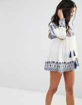 Glamorous Bed Jacket With High Neck Embroidered Details And Tassel Ties
