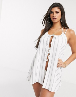 Asos DESIGN jersey tie front textured beach cover up in natural stripe