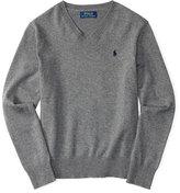 Ralph Lauren Melange V-Neck Pullover Sweater, Size 2-7