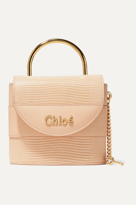 Chloé Aby Lock Small Lizard-effect Leather Shoulder Bag - Peach