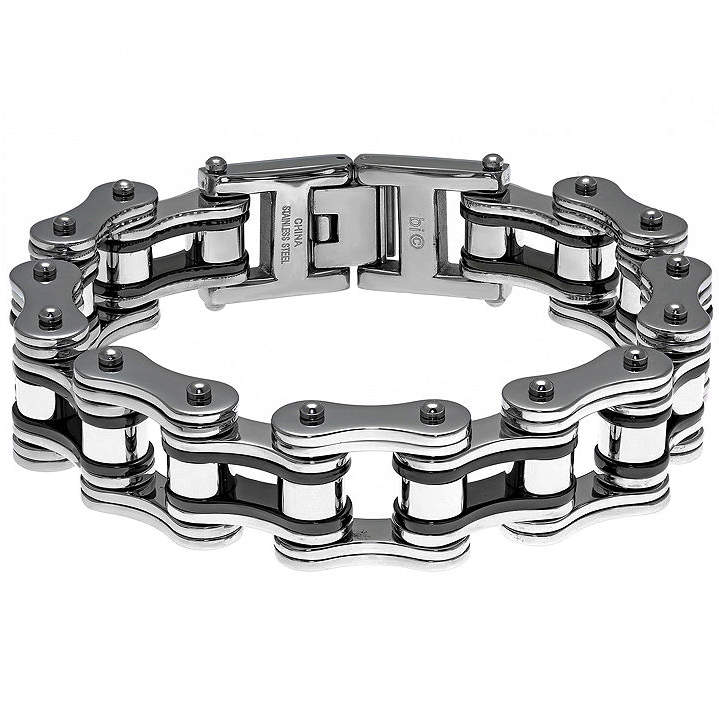 JCPenney FINE JEWELRY Mens Stainless Steel & Black IP Motorcycle Bracelet