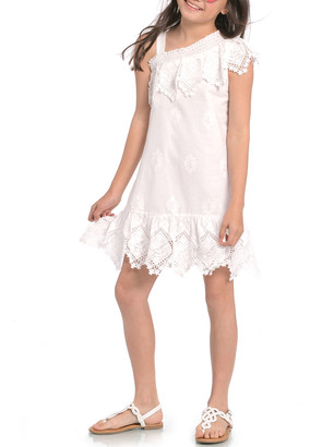 Hannah Banana Girl's One Shoulder Lace Dress, Size 7-14