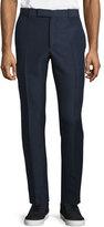 Alexander McQueen Flat-Front Wool/Mohair Trousers, Navy