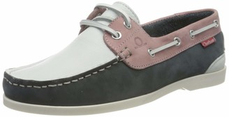 Chatham Willow Leather Deck Boat Shoes White/Navy/Pink Size 7