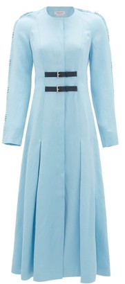 Gabriela Hearst Arianna Whipstitched Raglan-sleeve Midi Dress - Womens - Light Blue